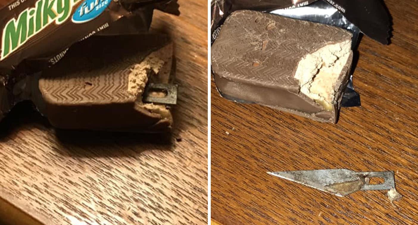 Mum finds blade inside daughter's Halloween chocolate