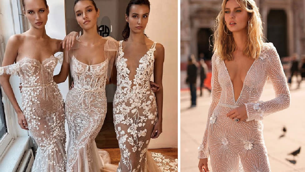 'Naked' sheer wedding dress trend divides opinion