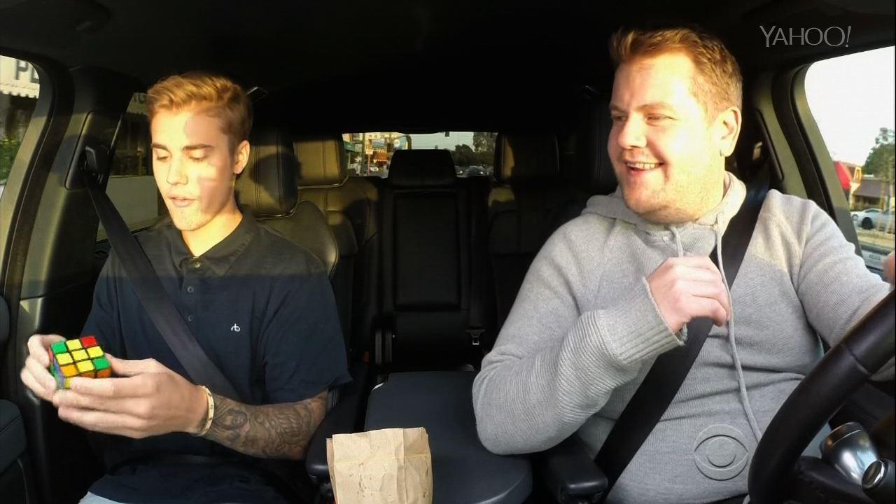 Justin Bieber Solves Rubiks Cube While Doing Carpool Karaoke Video