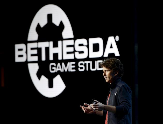 """Todd Howard, Game Director and Executive Producer at Bethesda Game Studios, speaks as he introduces the video game """"Fallout 4"""" during video game publisher Bethesda Softworks media briefing before the opening day of the Electronic Entertainment Expo, or E3, at the Dolby Theater in Los Angeles, California June 14, 2015.   REUTERS/Kevork Djansezian"""