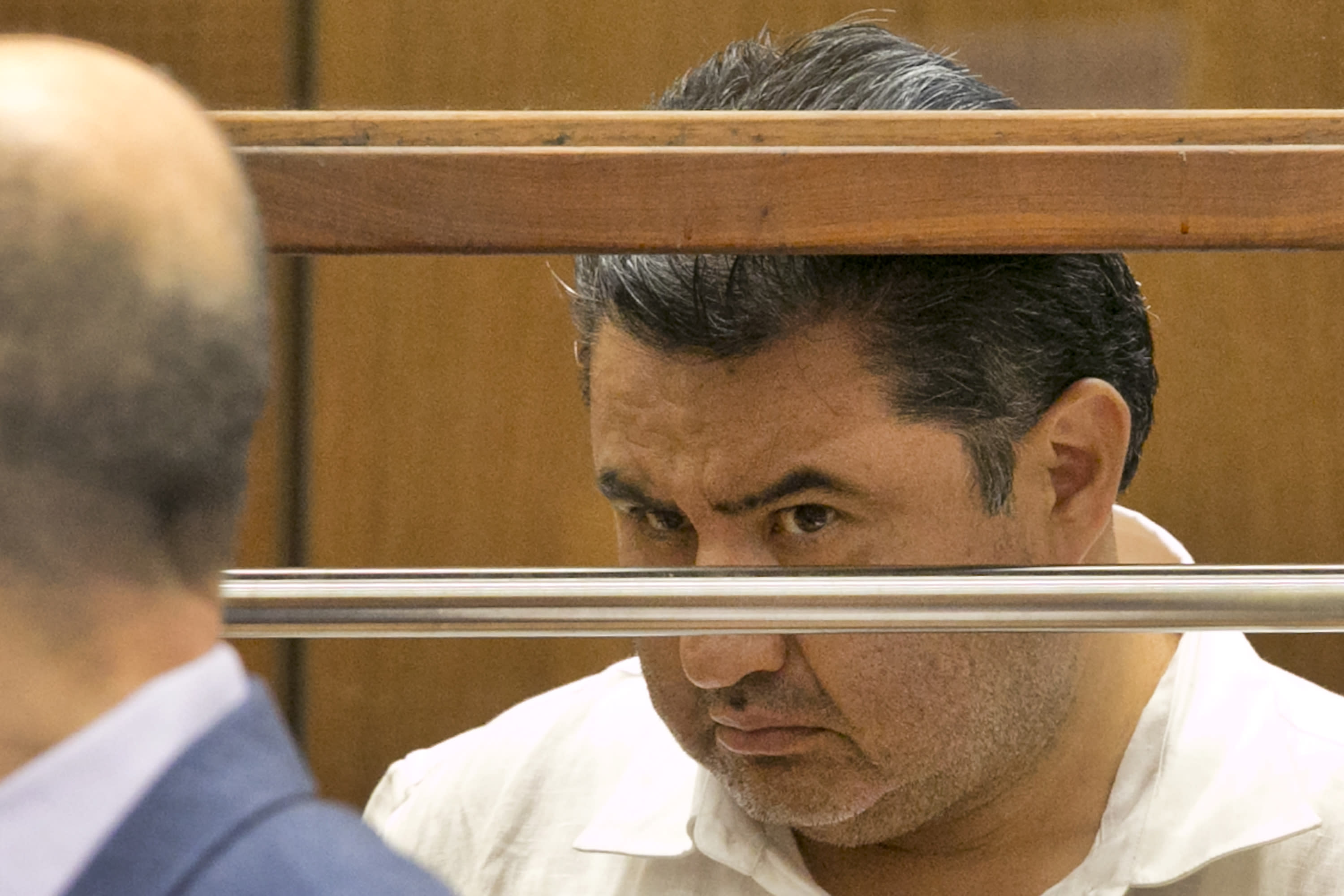 FILE - This June 5, 2019 file photo shows Naasón Joaquín García, the leader of fundamentalist Mexico-based church La Luz del Mundo, appearing in Los Angeles County Superior Court. On Tuesday, April 7, 2020 a California appeals court has dismissed the criminal case against the Mexican megachurch leader on charges of child rape and human trafficking. The case was dismissed on procedural grounds. García, the self-proclaimed apostle of La Luz del Mundo, has been in custody since June. He is currently being held without bail in Los Angeles. The attorney general's office said it was reviewing the court's ruling. (AP Photo/Damian Dovarganes, File)