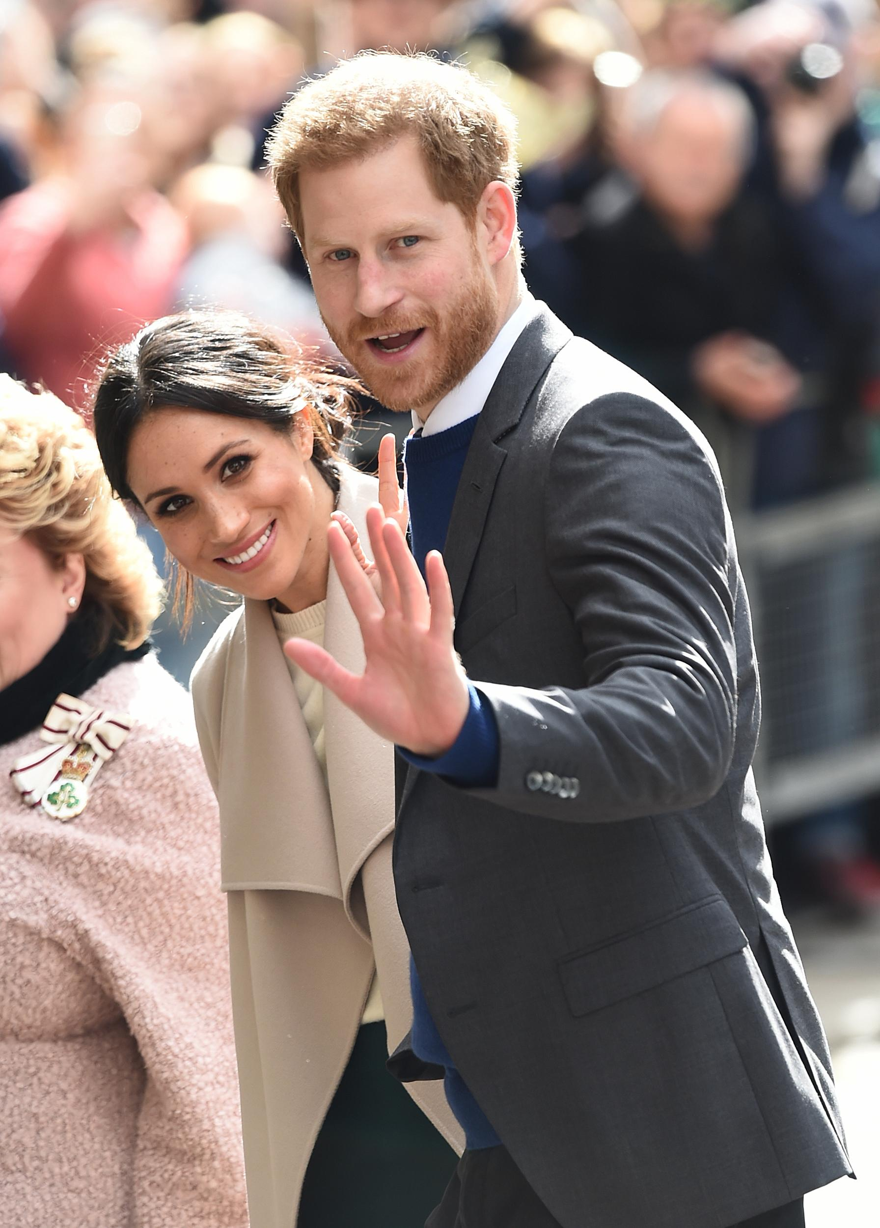 Prince Harry and Meghan Markle arrive for a walkabout in Belfast city centre where they are visiting the Crown Liquor Saloon Bar