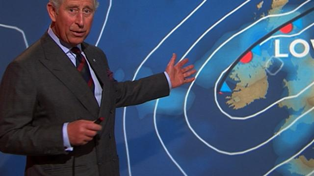 Prince Charles delivers the weather