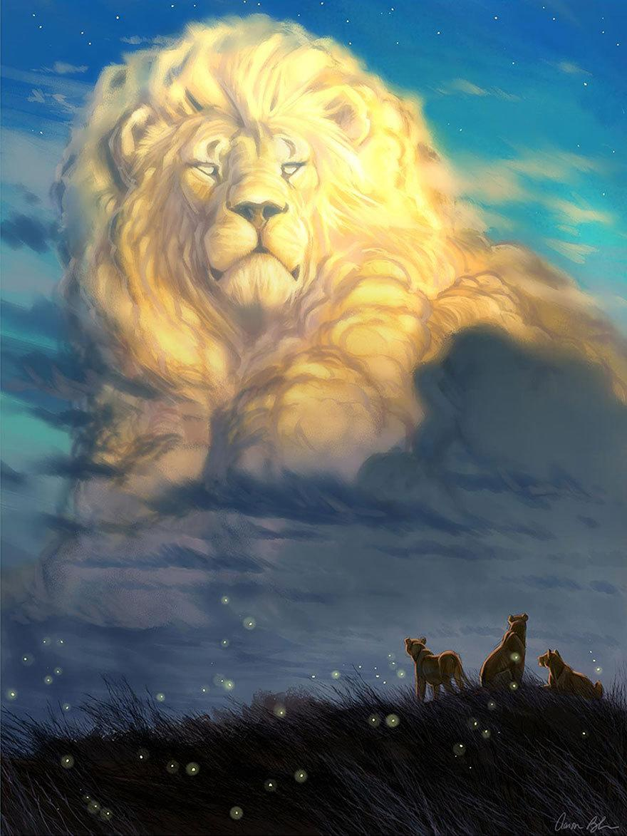 """<p>This artwork was created by former Disney animator <a href=""""https://creatureartteacher.com/"""" rel=""""nofollow noopener"""" target=""""_blank"""" data-ylk=""""slk:Aaron Blaise"""" class=""""link rapid-noclick-resp"""">Aaron Blaise</a>, who's worked on 'The Lion King,' among others. Fans of the classic movie will notice that the scene recalls a pivotal plot point, when Mufasa's spirit appears to Simba. (Credit: <a href=""""https://creatureartteacher.com/"""" rel=""""nofollow noopener"""" target=""""_blank"""" data-ylk=""""slk:Aaron Blaise/CreatureTeacher"""" class=""""link rapid-noclick-resp"""">Aaron Blaise/CreatureTeacher</a>)<br></p>"""