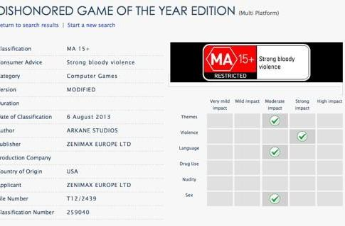 Dishonored GOTY rated in Australia