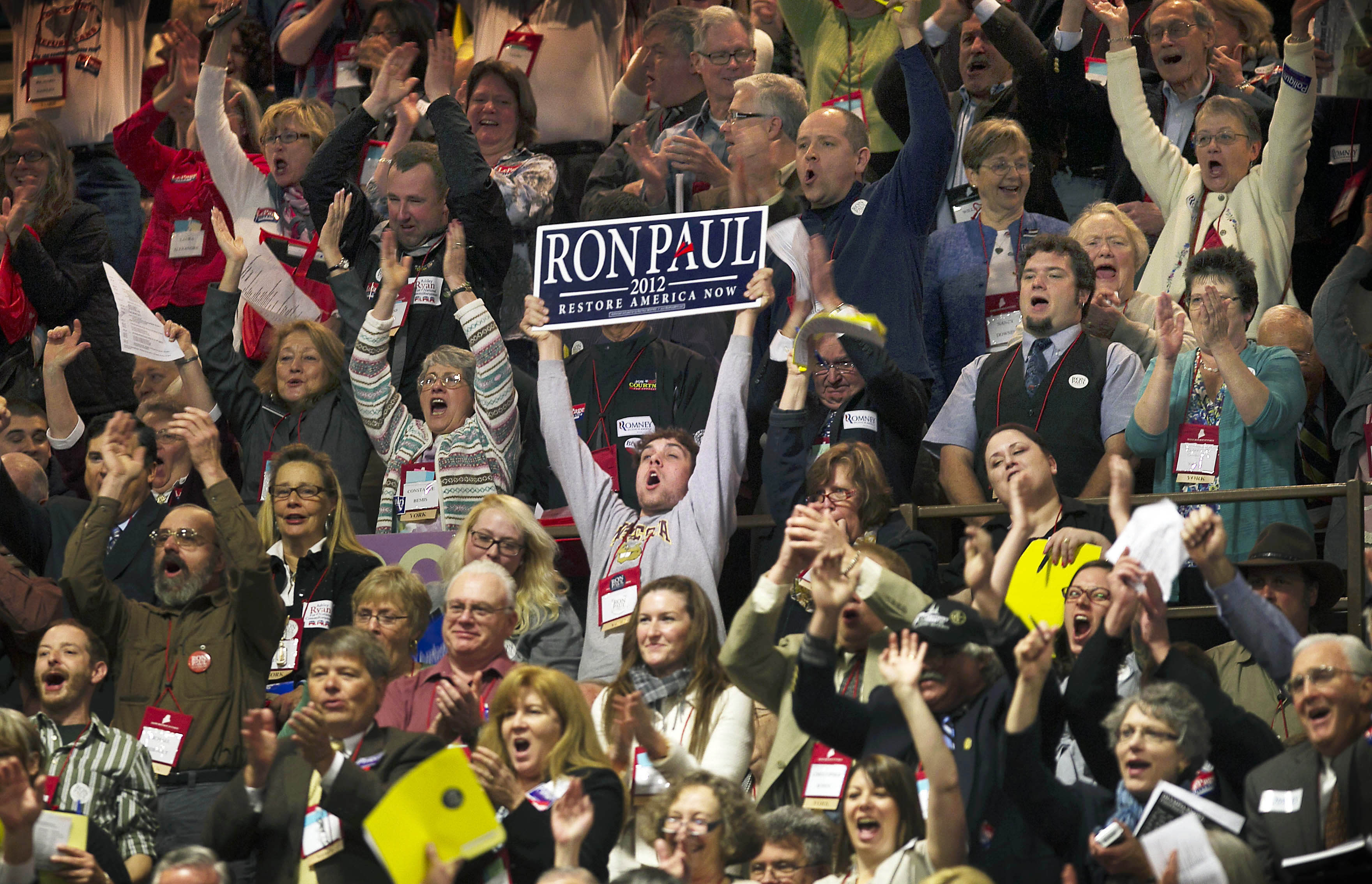 Delegates cheer at the Maine Republican Convention at the Augusta Civic Center in Augusta, Maine, Saturday, May 5, 2012. (AP Photo/Robert F. Bukaty)