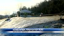 Firefighter injured, man's foot severed after fire, explosion