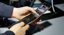 Samsung Galaxy W2019 flip phone listed on TENNA, seen sporting two AMOLED screens