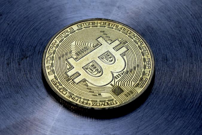 LONDON, ENGLAND - MAY 30: In this photo illustration, a visual representation of Bitcoin cryptocurrency is pictured on May 30, 2021 in London, England. Bitcoin is a decentralised digital currency, which has been in use since 2009. (Photo illustration by Edward Smith/Getty Images)