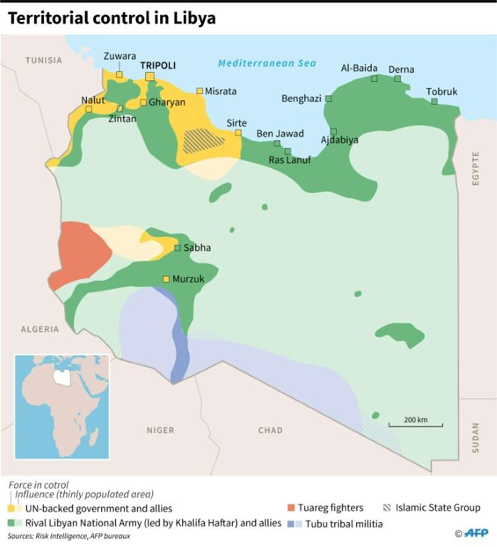 Map of forces involved in the fighting in Libya, as of December 31, 2019 (AFP Photo/)