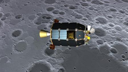 An artist's concept of NASA's Lunar Atmosphere and Dust Environment Explorer (LADEE) spacecraft seen orbiting near the surface of the moon