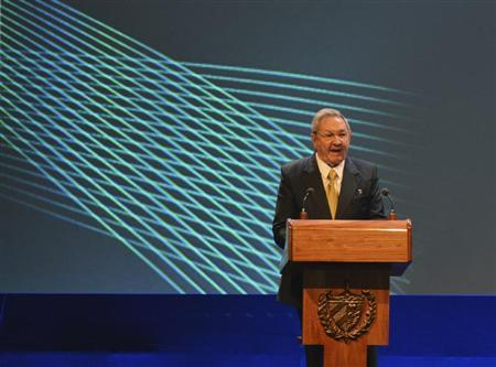 Raul Castro addresses the audience during the opening session of the CELAC summit in Havana