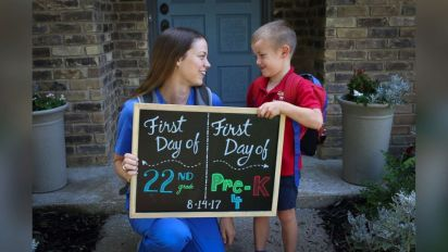 Mother, son celebrate 1st day of school together
