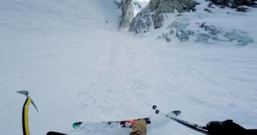 Ski - Julien Lange dans un couloir verglacé