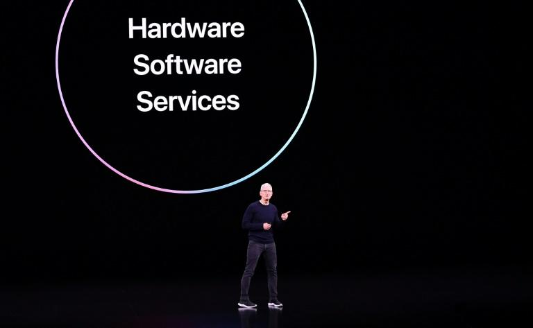 Apple CEO Tim Cook speaks on stage during a product launch event at Apple's headquarters in Cupertino, California (AFP Photo/Josh Edelson)