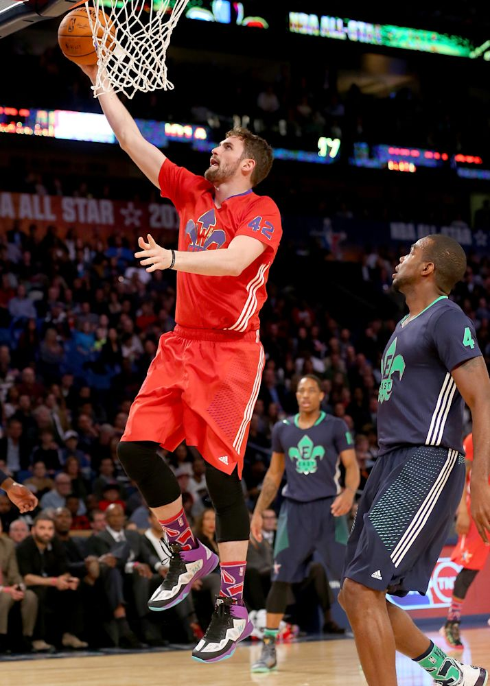 Kevin Love of the Minnesota Timberwolves heads for the net during the 2014 NBA All-Star game at the Smoothie King Center on February 16, 2014 in New Orleans, Louisiana