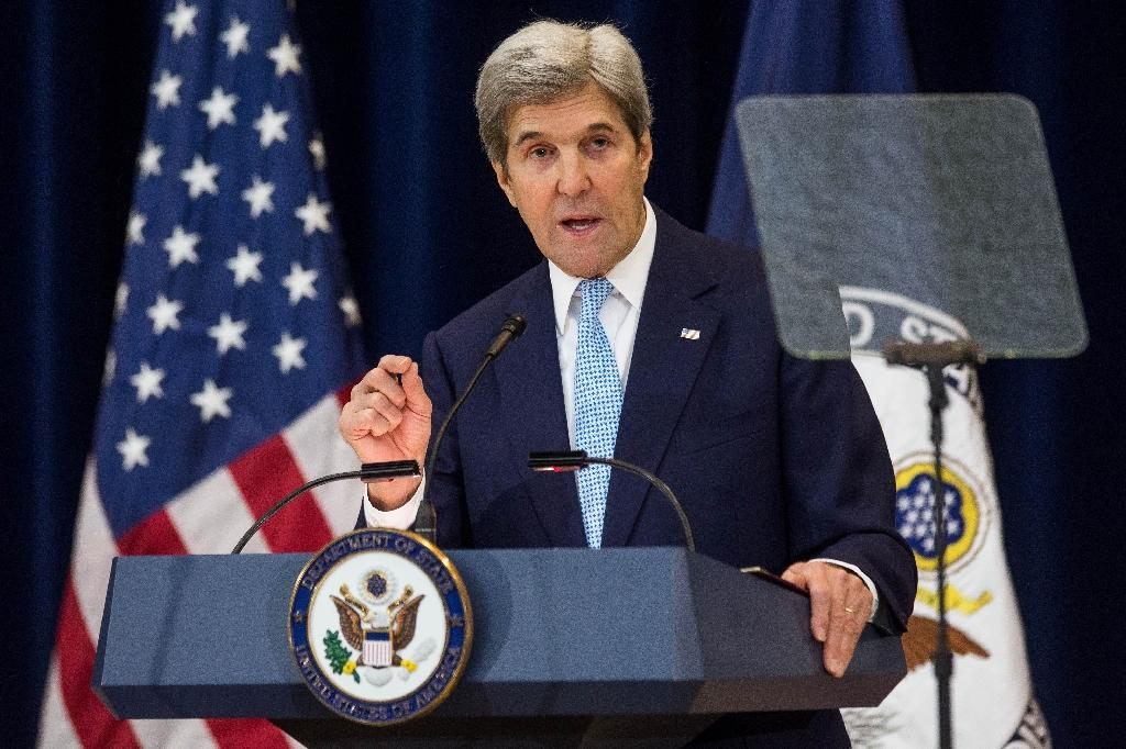 U.S. Secretary of State John Kerry delivers a speech on Middle East peace at the US Department of State on December 28, 2016 (AFP Photo/Zach Gibson)