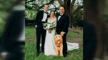 Bride's dad makes cardboard cutout of her dog so he can attend wedding