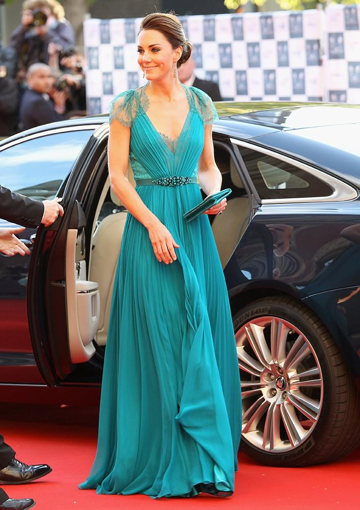 Attending an Olympic Concert, Kate dominated the red carpet in a lace-back Jenny Packham gown.