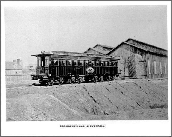Abraham Lincoln's railcar pictured in Alexandria, Va. The private car carried Lincoln's body on a two-week funeral procession across the Northern U.S. states in 1865.