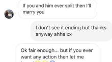 Homem dá em cima de jovem por mensagens e recebe melhor resposta de noivo