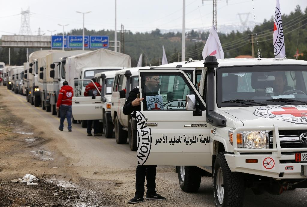 Aid convoys have been delivering supplies to the besieged rebel-held Syrian town of Madaya