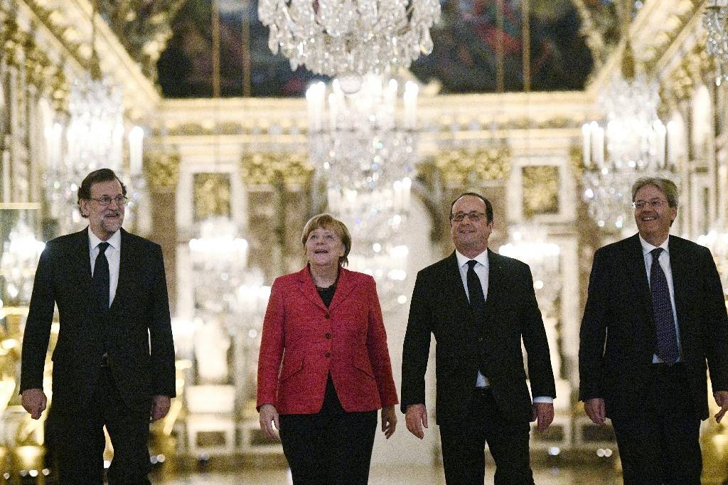 """Leaders of the """"big four"""" EU countries are pushing for a """"two-speed"""" Europe (AFP Photo/Martin BUREAU)"""