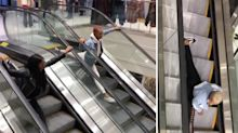 Dancers take over mall escalators to perform crazy splits