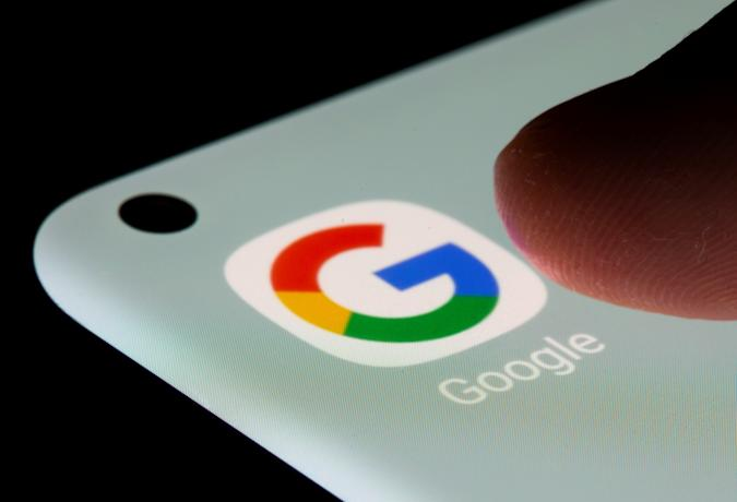 Google app is seen on a smartphone in this illustration taken, July 13, 2021. REUTERS/Dado Ruvic/Illustration