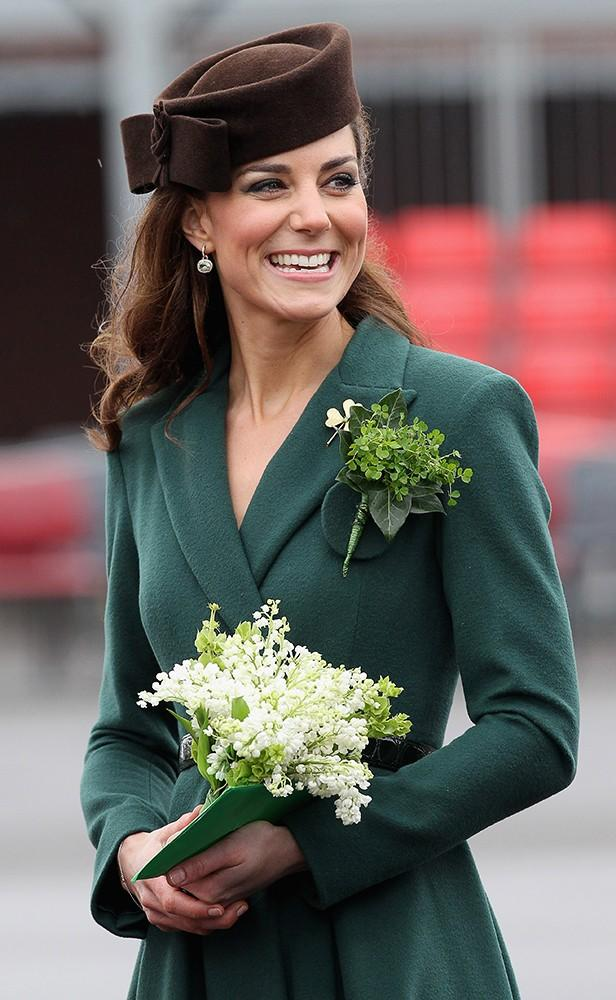 It was St. Patrick's Day, and Kate looked gorgeous in green, a belted Emilia Wickstead dress.