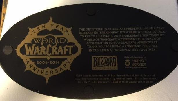 Report: Blizzard sends statue to 10-year WoW veterans