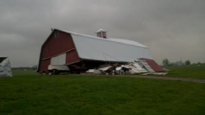 Barn Knocked Down By Overnight Winds