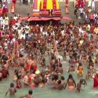 Nearly a miillion Hindu devotees join ritual bath