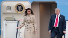 Melania Trump wears classic $1,995 Burberry trench coat for European arrival