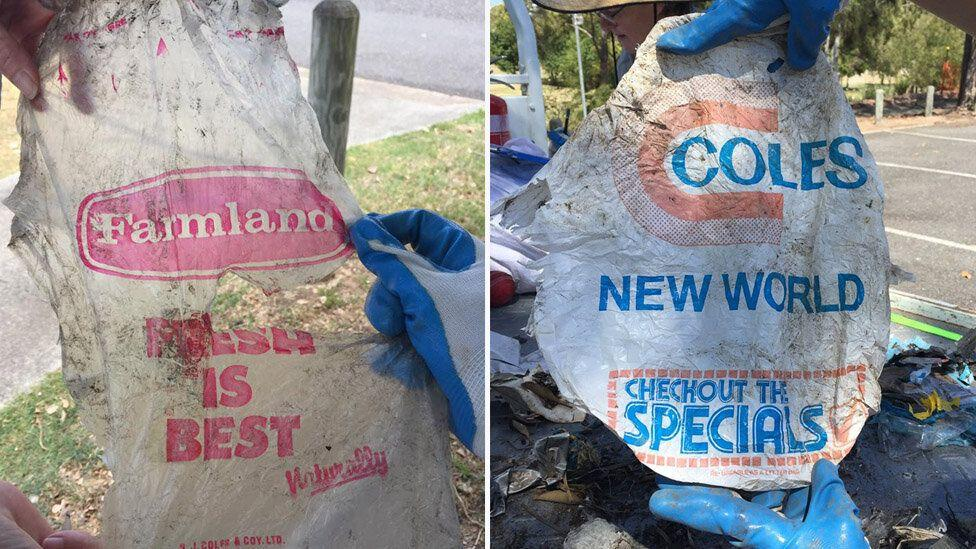 40-year-old Coles bag found polluting Brisbane River