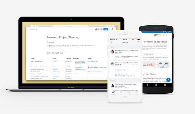 Paper, Dropbox's answer to Google Docs, now has apps for iOS and Android