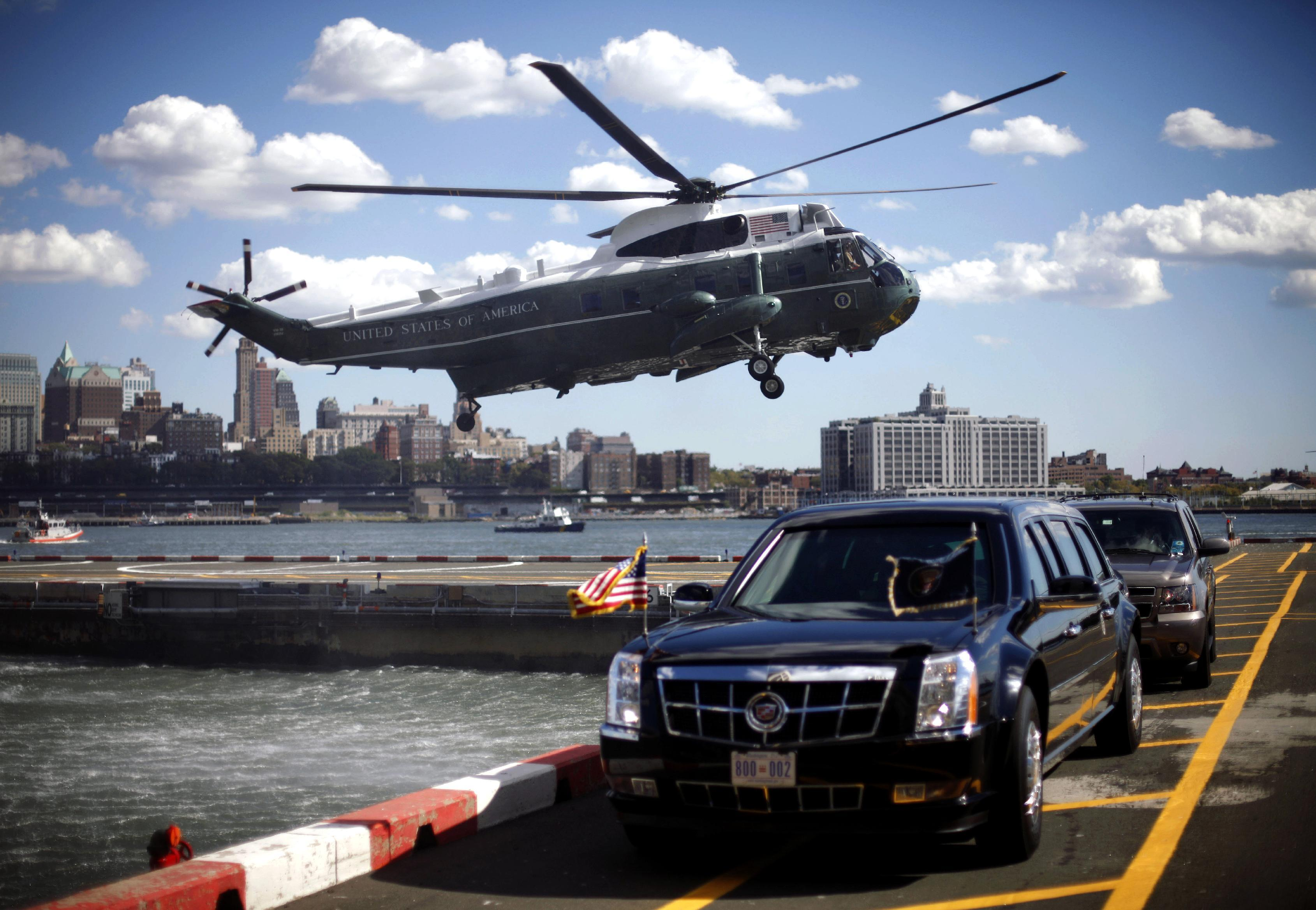 The Marine One helicopter, with President Barack Obama aboard, lands at the Wall Street heliport in New York, Monday, Sept. 24, 2012. (AP Photo/Pablo Martinez Monsivais)