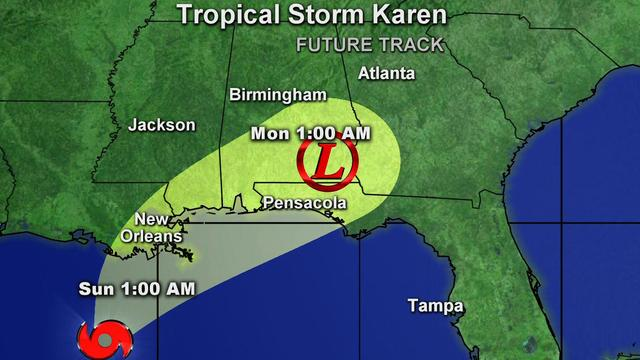 Tropical Storm Karen weakening, could still cause damage