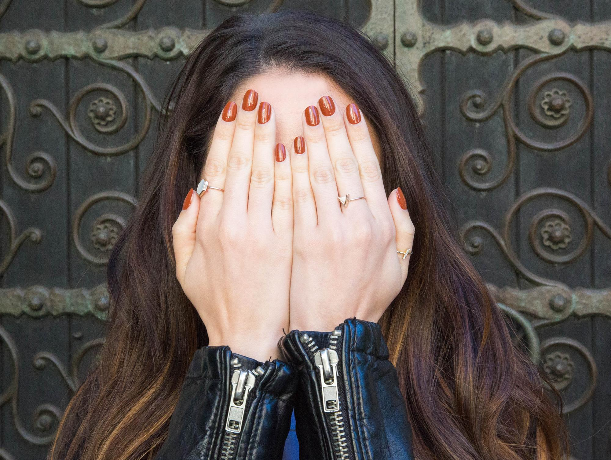Burnt orange may be the hottest nail color of the season. (Photo: Casey Hollister for Yahoo Lifestyle)
