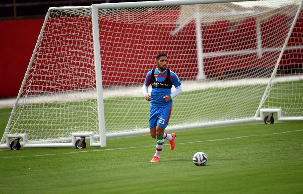 Iran's forward Ashkan Dejagah takes part in a training session at Manoel Barradas stadium in Salvador on June 24, 2014