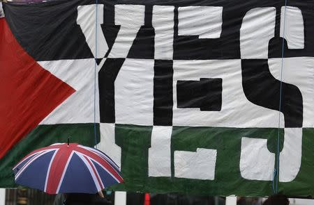 A passer-by carries a Union Flag umbrella past a pro-Palestine demonstration outside the Houses of Parliament in London October 13, 2014. REUTERS/Luke MacGregor