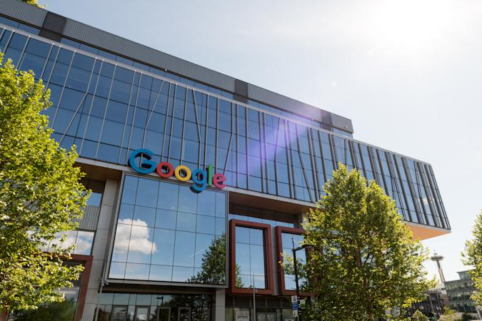 Seattle, USA - May 14, 2020: The entrance to the new Google building in the south lake union area late in the day.