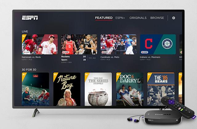 ESPN+ now streams on Roku devices