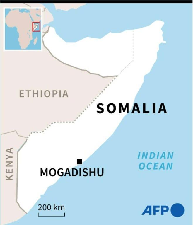 Map of Somalia locating the capital Mogadishu, where gunmen stormed a hotel Sunday