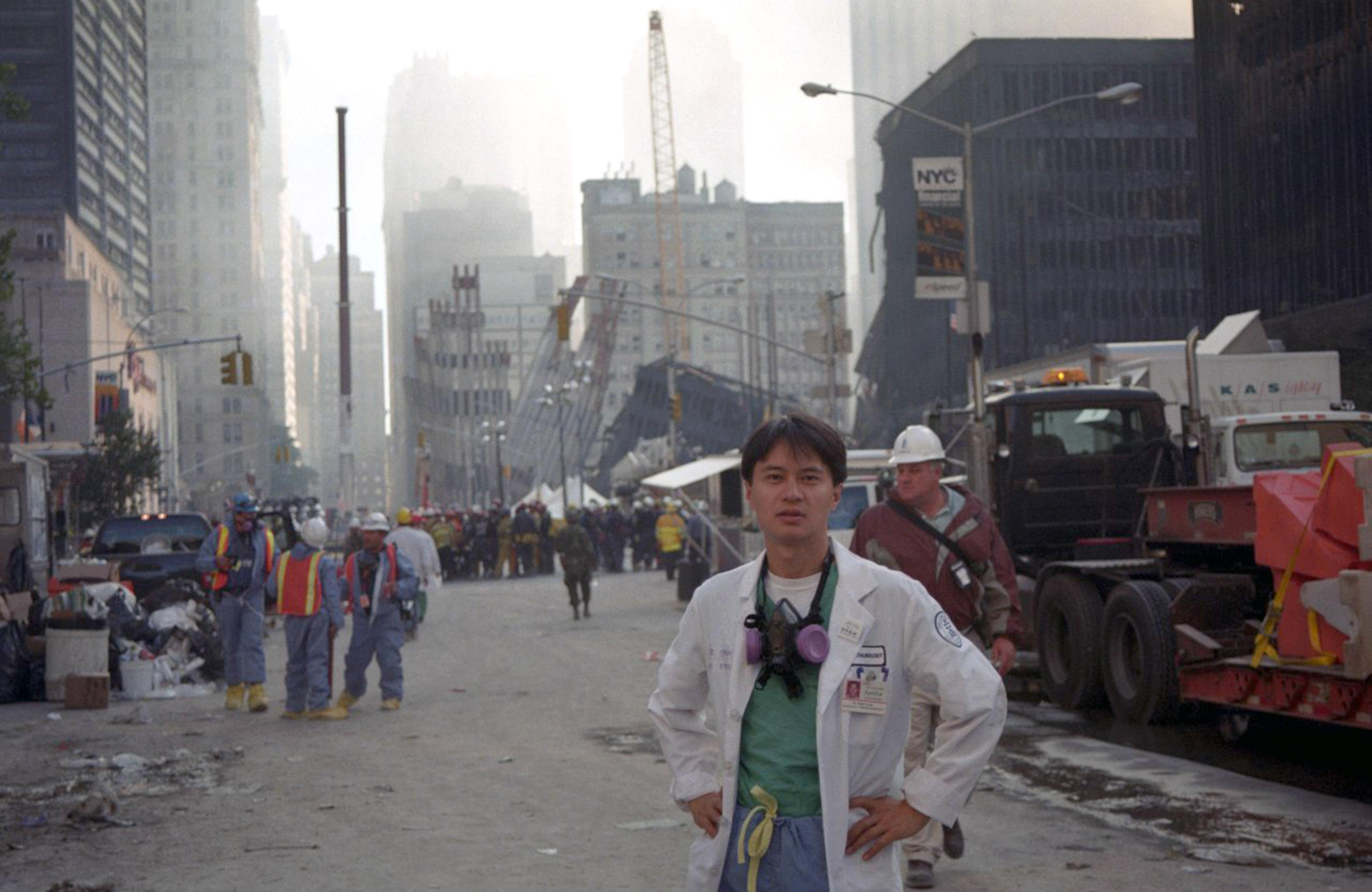 Dr Emil Chynn at the scene during the tragedy. (Caters)