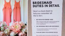 Bride's 'list of duties' for her bridesmaids slammed for outrageous demand