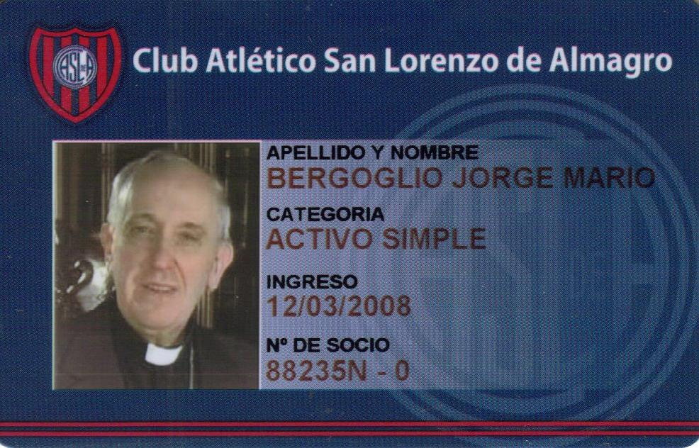 In this screen shot image released by the San Lorenzo de Almagro soccer team on Wednesday March 13, 2013, shows a copy of the club's identification card belonging to Argentina's Cardinal Jorge Bergoglio. Bergoglio, a San Lorenzo soccer fan, was chosen as Pope on March 13, 2013, the first pope ever from the Americas and the first from outside Europe in more than a millennium. (AP Photo/Club Atletico San Lorenzo de Almagro)