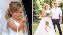 Child hilariously ruins wedding photos by giving middle finger to camera