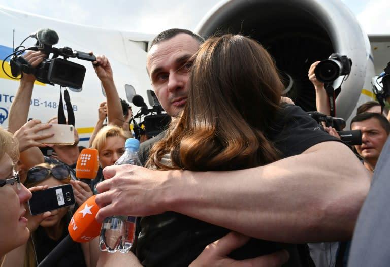 Ukrainian film director Oleg Sentsov was the country's most prominent political prisoner (AFP Photo/Sergei SUPINSKY)
