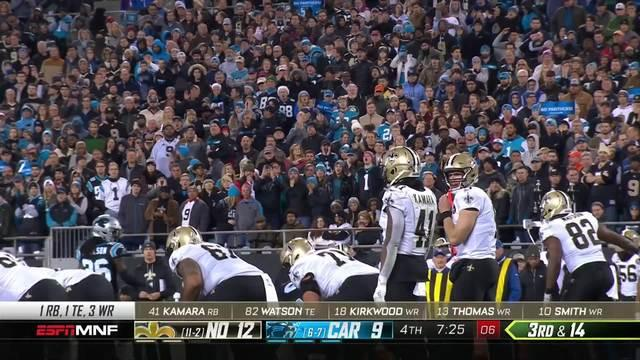 Brees throws absolute dime to Kirkwood for key first down